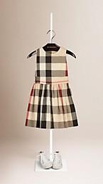 Sleeveless Check Cotton Dress