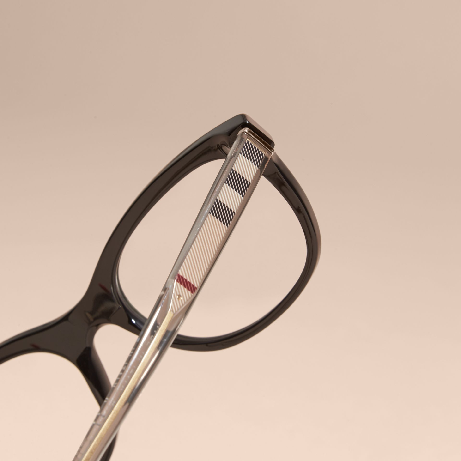 Black Check Detail Oval Optical Frames Black - gallery image 2