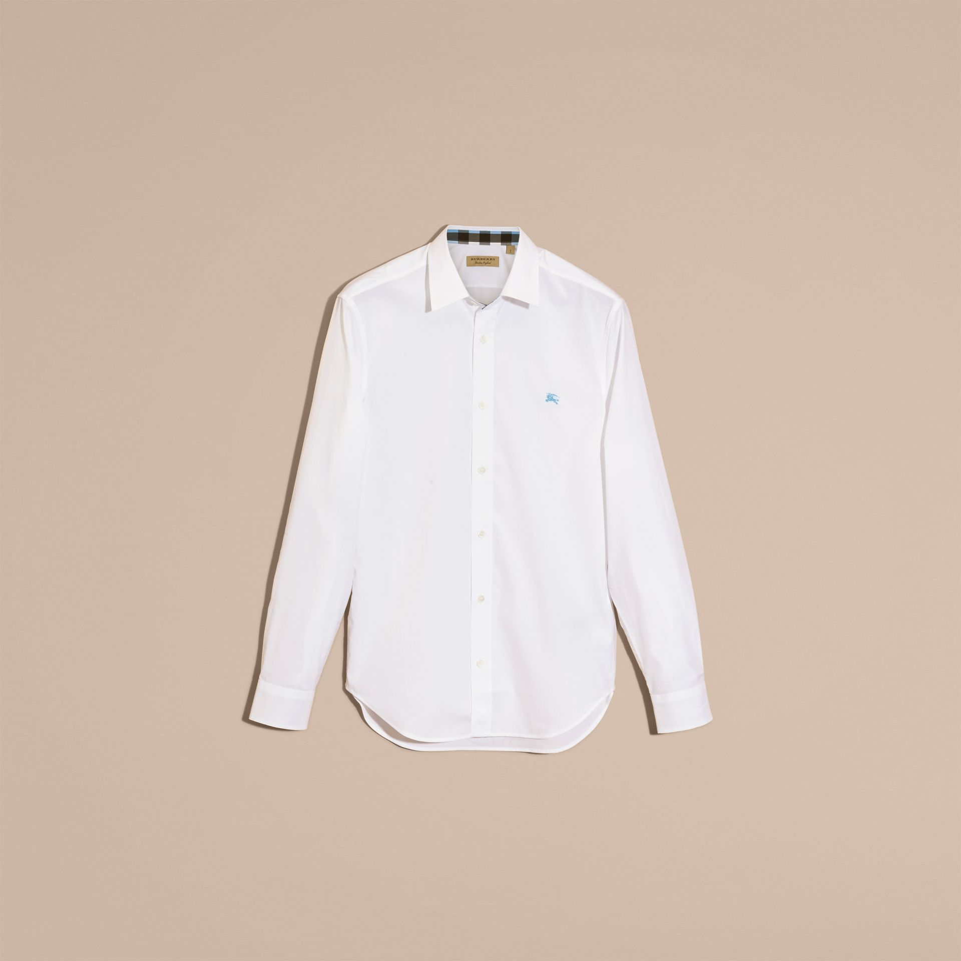 Check Detail Stretch Cotton Shirt in White - gallery image 4