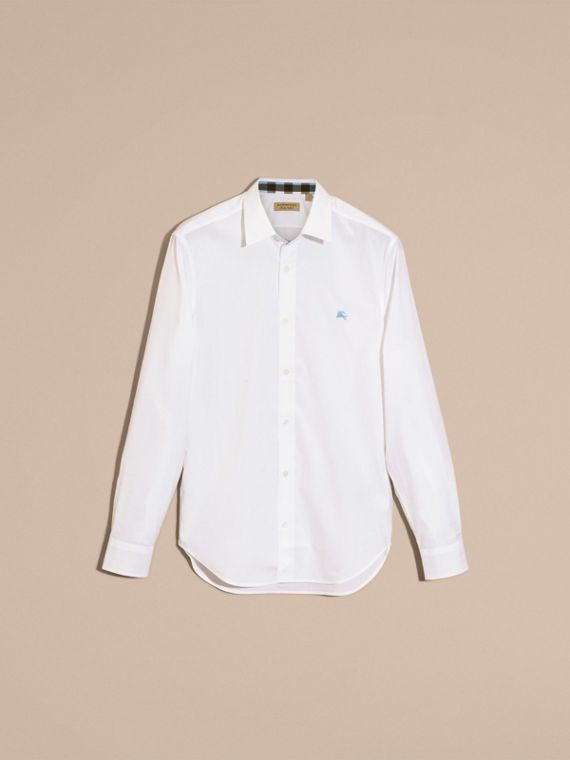 Check Detail Stretch Cotton Shirt in White - cell image 3