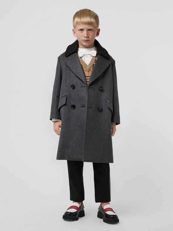 Contrast Collar Cashmere Tailored Coat in Grey Melange