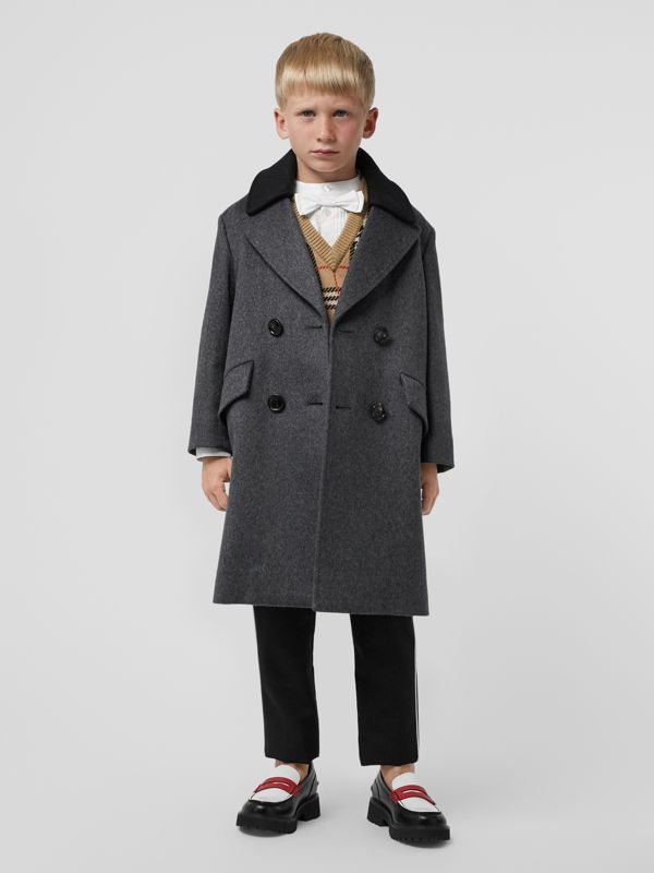 Contrast Collar Cashmere Tailored Coat in Grey Melange | Burberry Hong Kong S.A.R - cell image 2