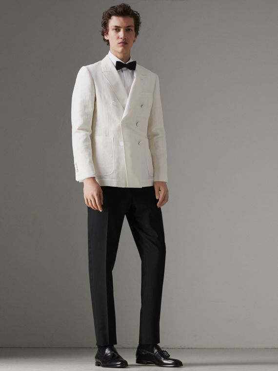 Linen Silk Double-breasted Tailored Jacket in Off White