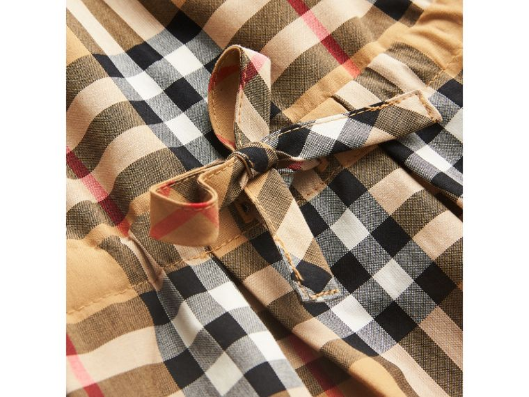Vestitino con coulisse in cotone con motivo Vintage check (Giallo Antico) | Burberry - cell image 1