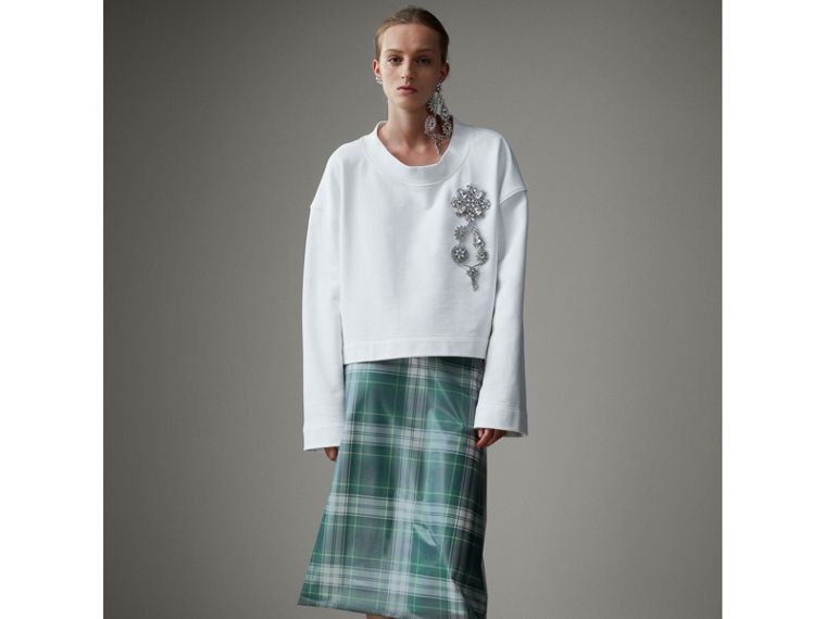 Cropped Sweatshirt with Crystal Brooch in Optic White - Women | Burberry - cell image 4