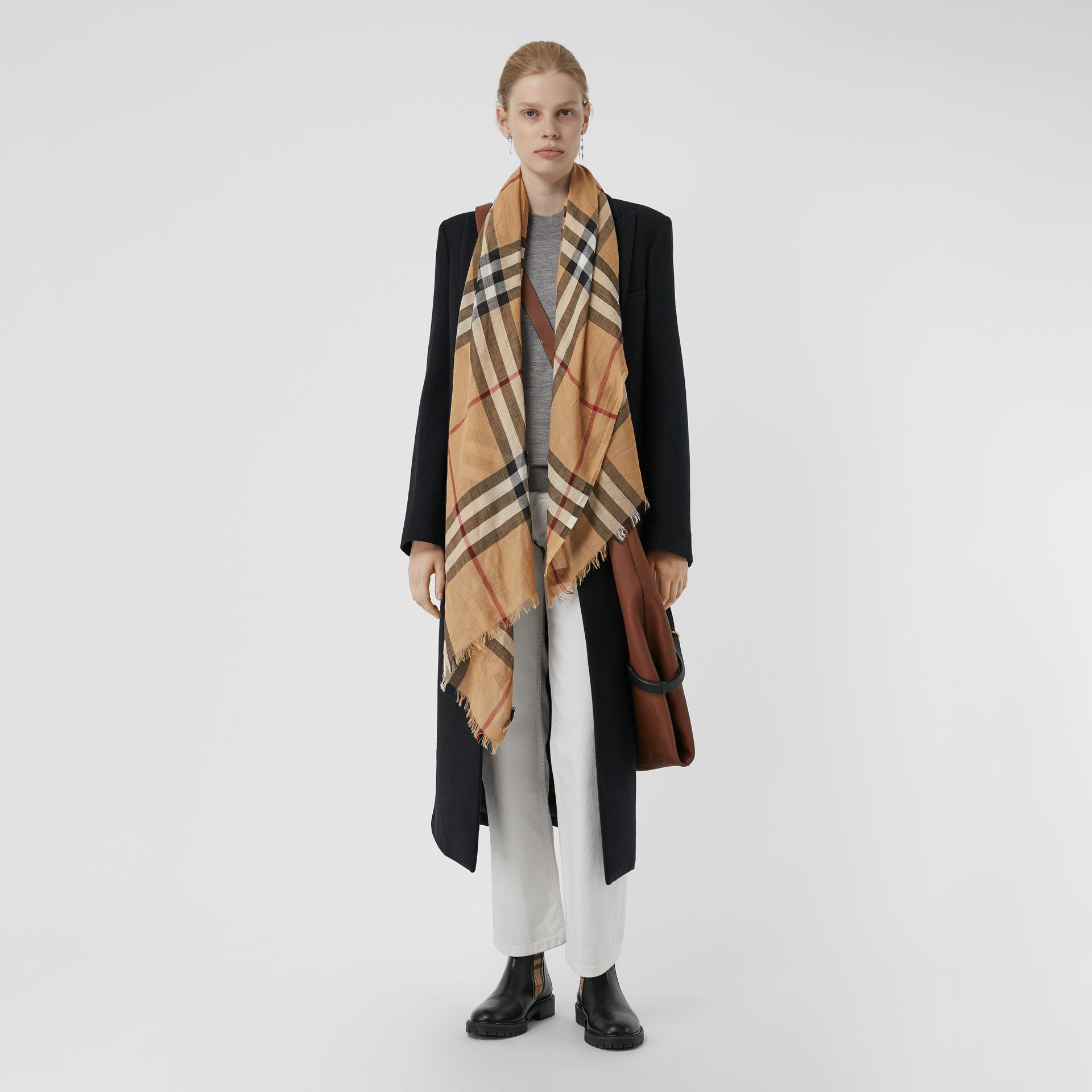 Lightweight Check Wool and Silk Scarf in Camel | Burberry Australia - gallery image 2