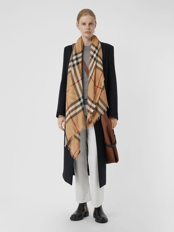 Lightweight Check Wool and Silk Scarf in Camel | Burberry Australia - cell image 2