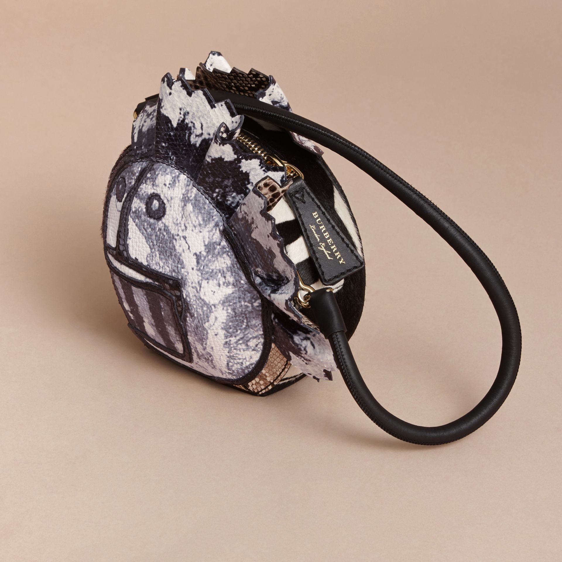Leather and Snakeskin Pallas Head Shoulder Bag - gallery image 3