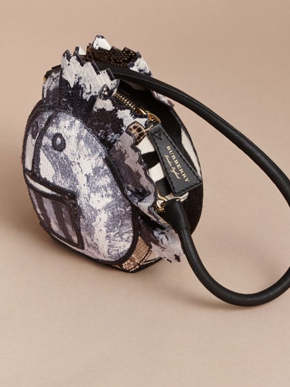 Leather and Snakeskin Pallas Head Shoulder Bag in Black/white - Women | Burberry - cell image 3