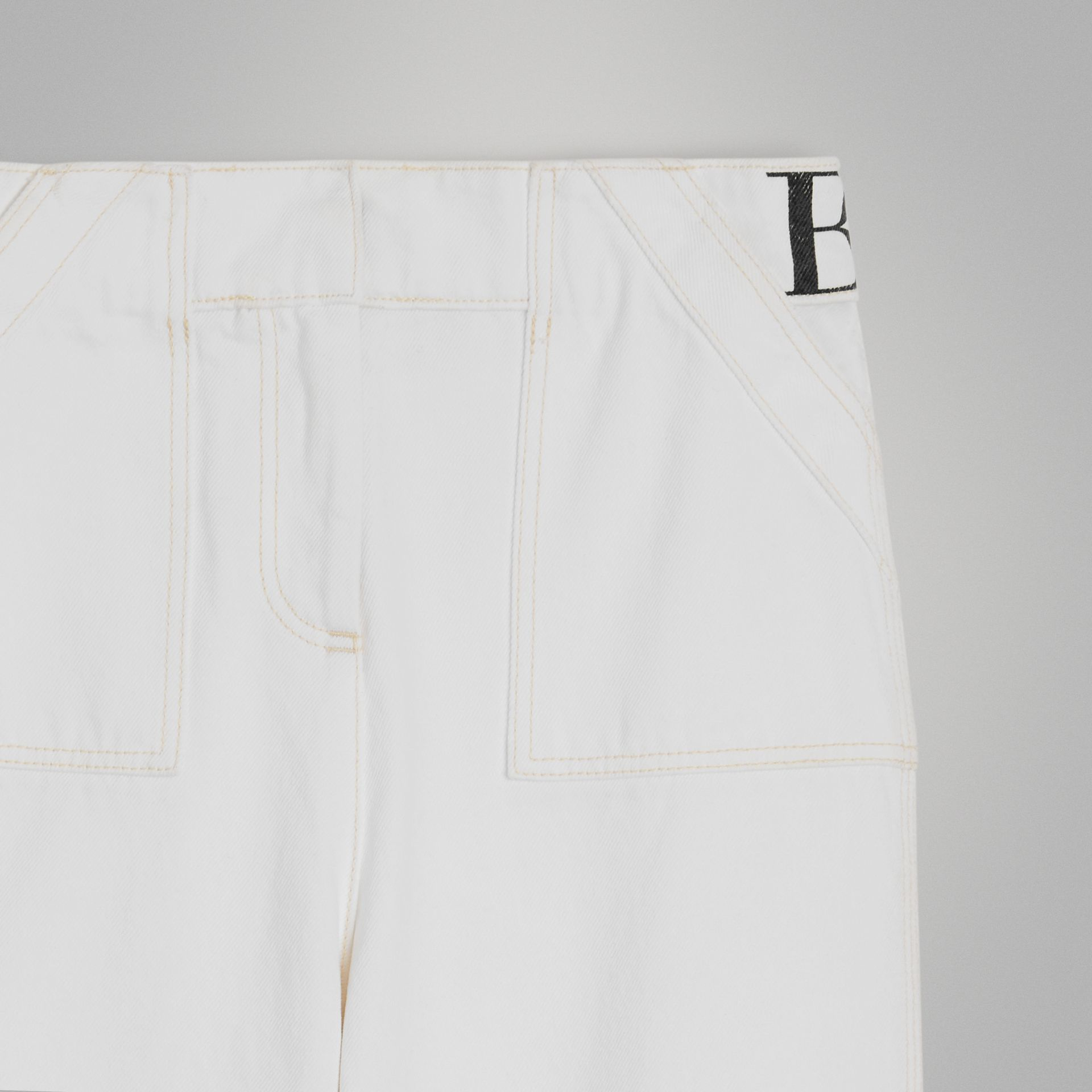 Relaxed Fit Logo Print Jeans in Natural White | Burberry United Kingdom - gallery image 4