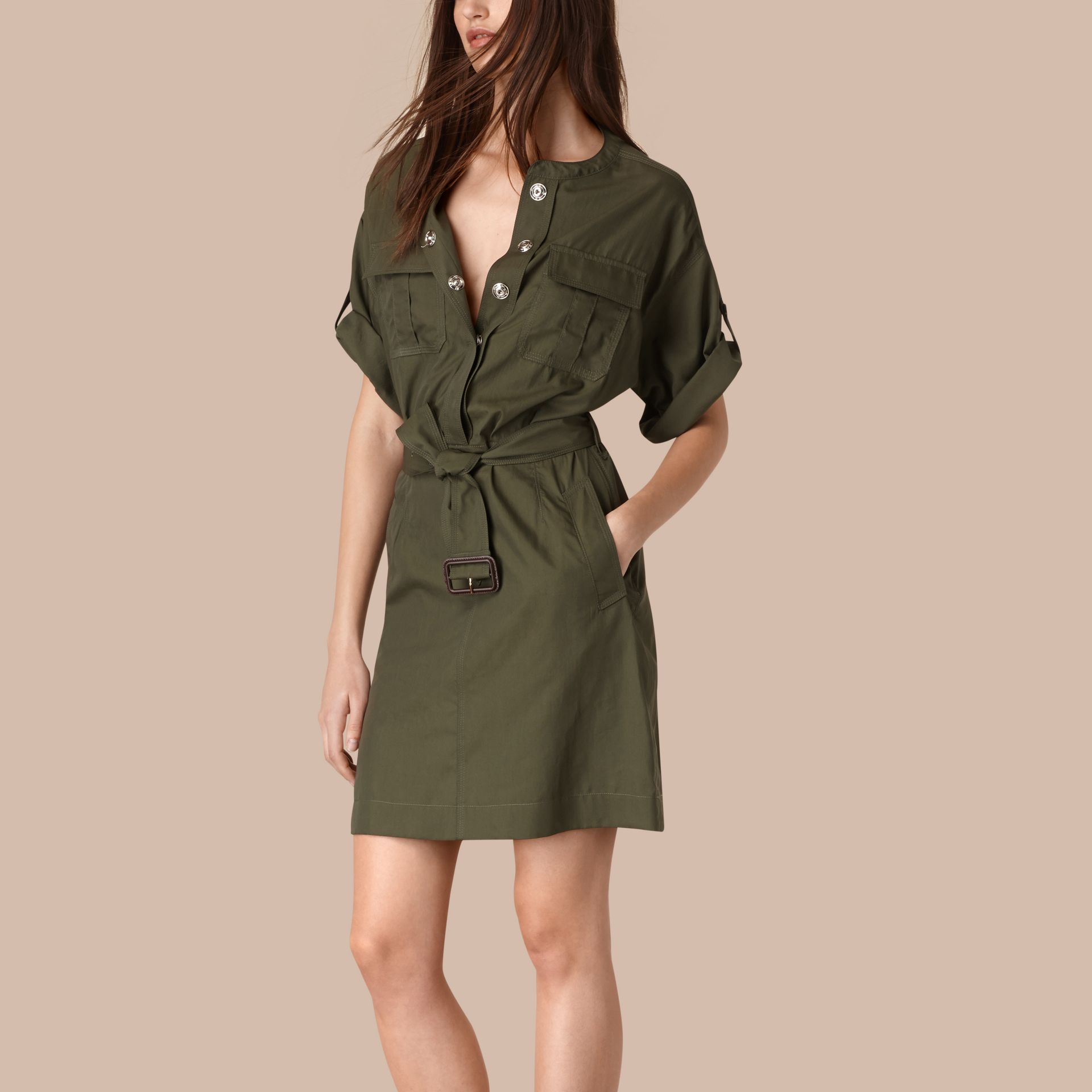 Olive Cotton and Silk Blend Military Dress Olive - gallery image 1