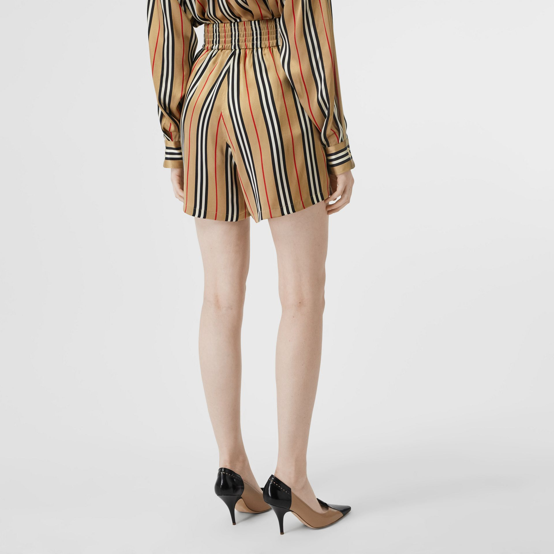 Icon Stripe Silk Shorts in Archive Beige - Women | Burberry - gallery image 2