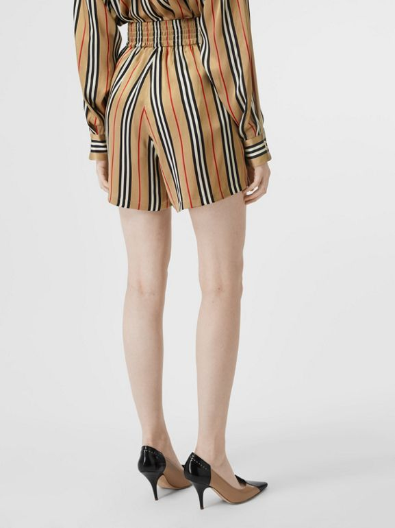 Icon Stripe Silk Shorts in Archive Beige | Burberry - cell image 1