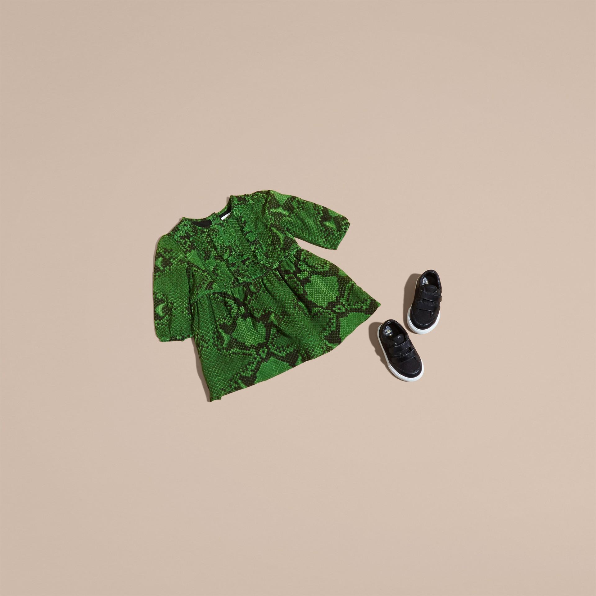 Bright green Python Print Ruffle-bib Silk Dress - gallery image 5