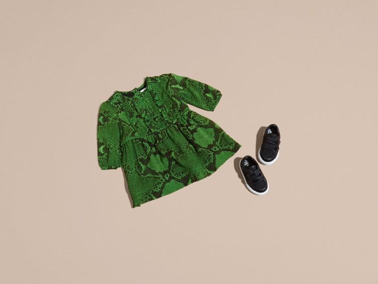 Bright green Python Print Ruffle-bib Silk Dress - cell image 4