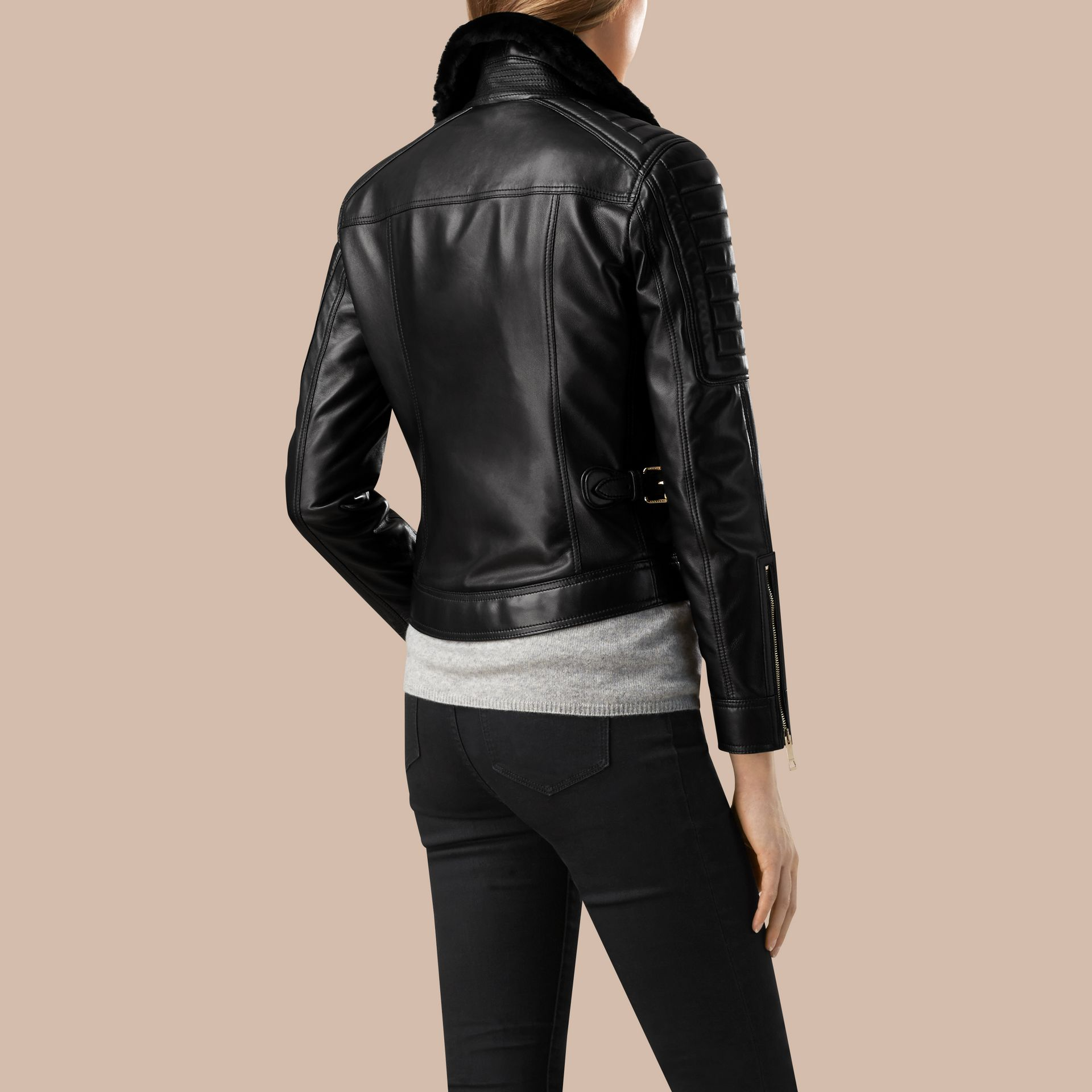 Black Lambskin Biker Jacket with Shearling Topcollar - gallery image 2