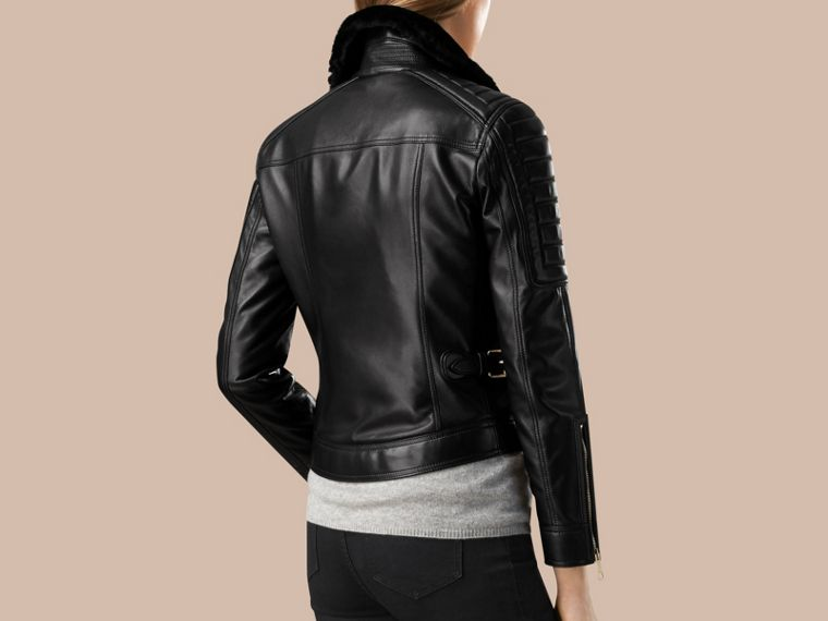 Black Lambskin Biker Jacket with Shearling Topcollar - cell image 1