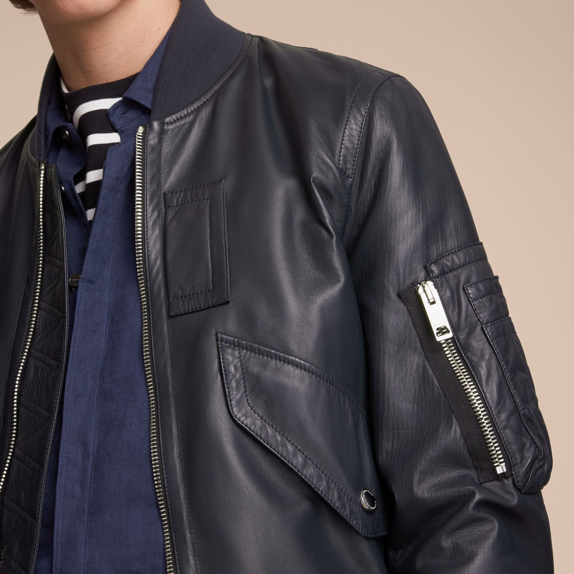 Lambskin Bomber Jacket in Navy - Men | Burberry - gallery image 5