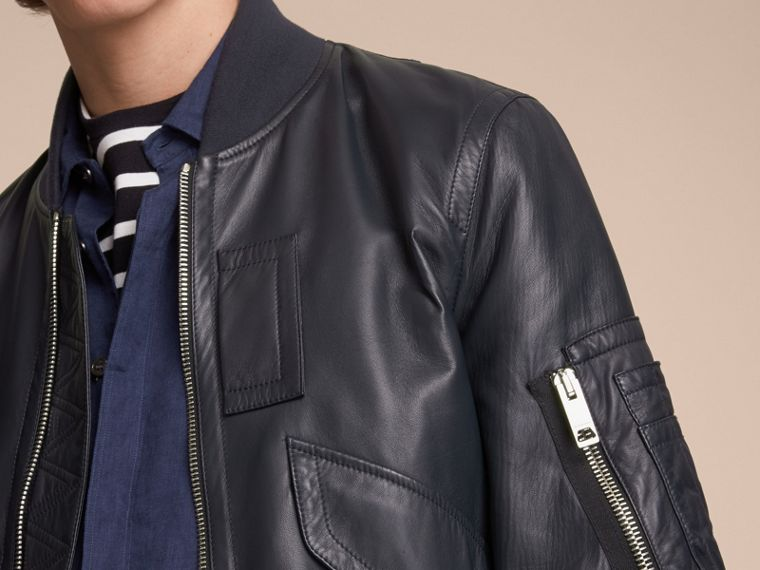 Lambskin Bomber Jacket in Navy - Men | Burberry - cell image 4