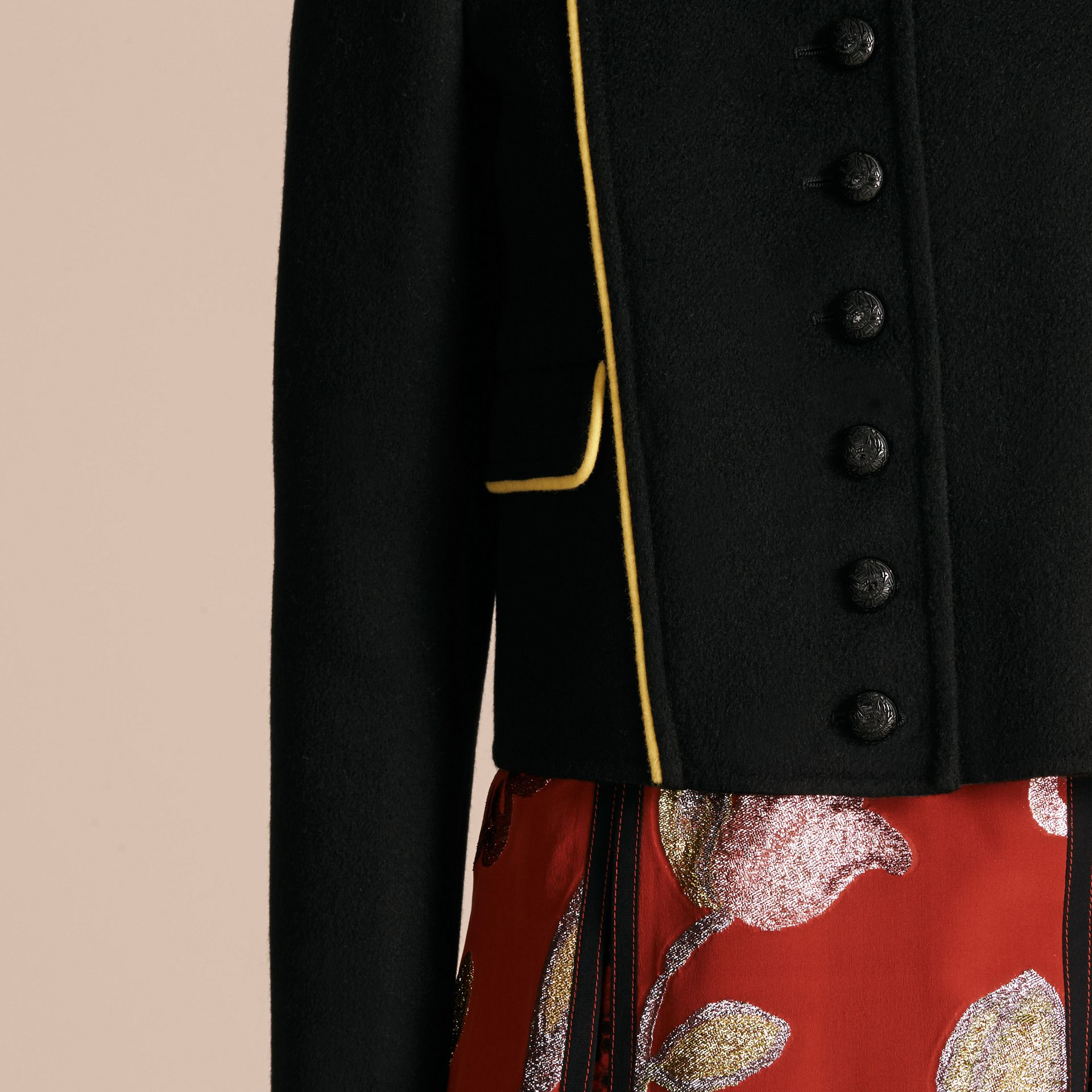 Black Piped Cropped Military Wool Cashmere Jacket - gallery image 4