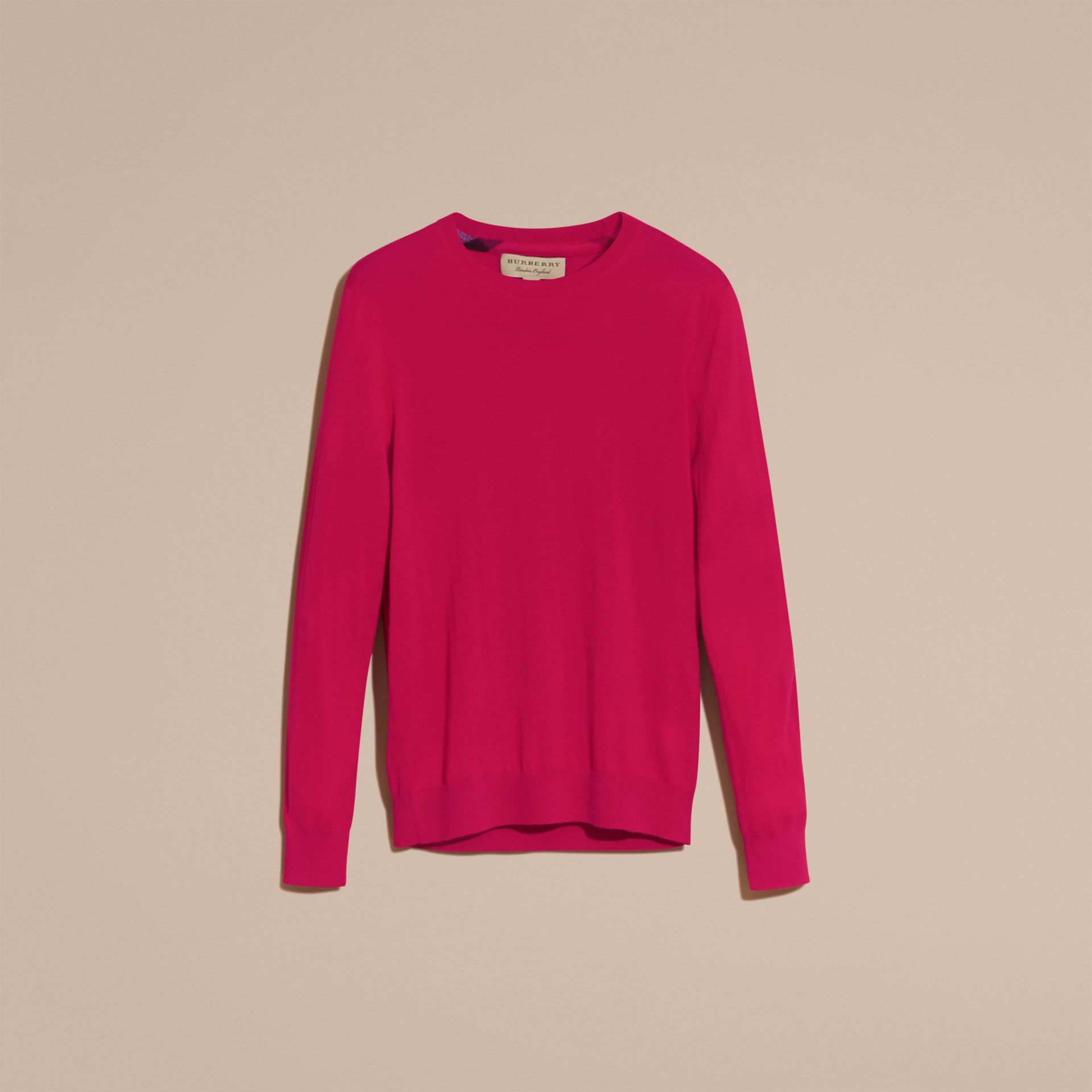 Bright pink Lightweight Crew Neck Cashmere Sweater with Check Trim Bright Pink - gallery image 4