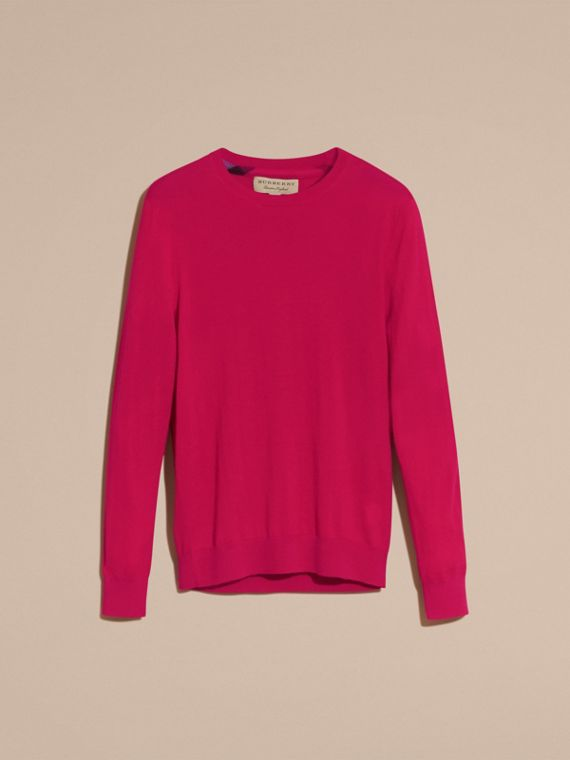 Lightweight Crew Neck Cashmere Sweater with Check Trim Bright Pink - cell image 3