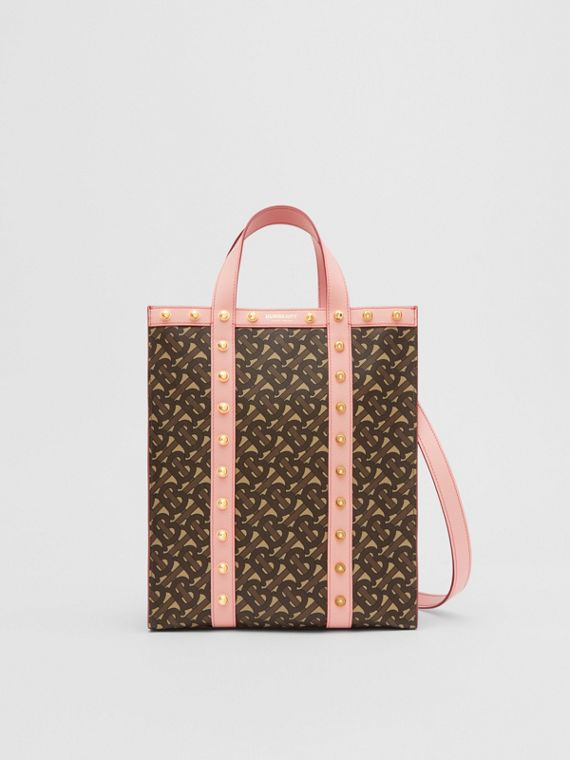 Small Monogram Print E-canvas Portrait Tote Bag in Cloud Pink