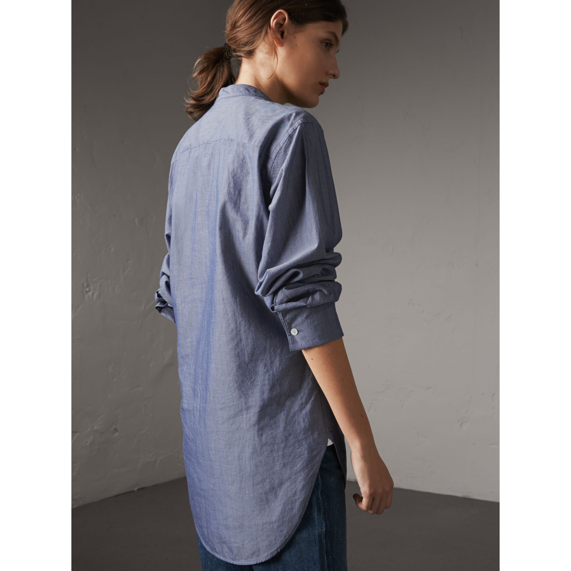 Unisex Grandad Collar Pleated Bib Cotton Shirt in Denim Blue - Women | Burberry Singapore - gallery image 5