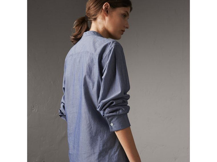 Unisex Grandad Collar Pleated Bib Cotton Shirt in Denim Blue - Women | Burberry - cell image 4