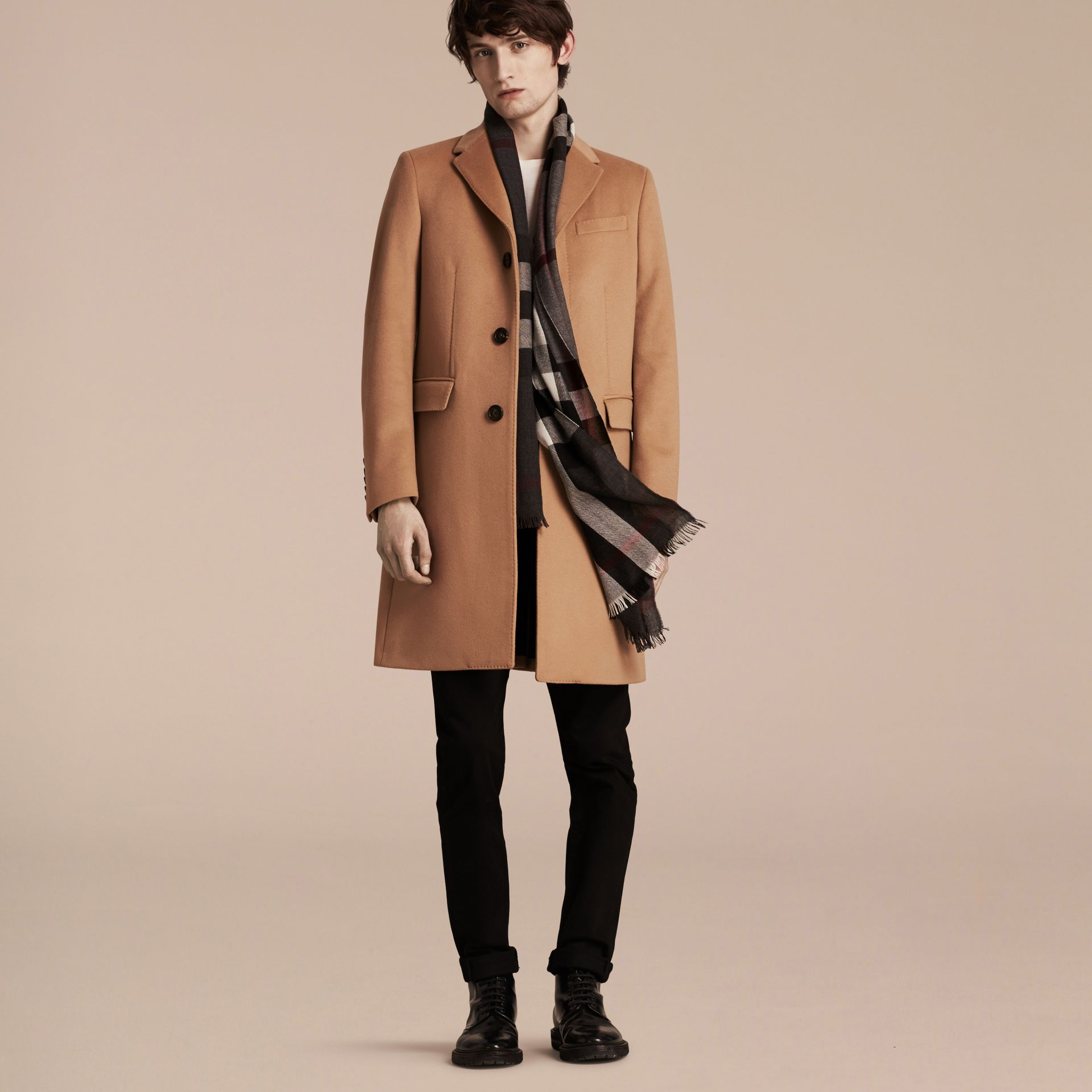 Camel Wool Cashmere Tailored Coat Camel - gallery image 7