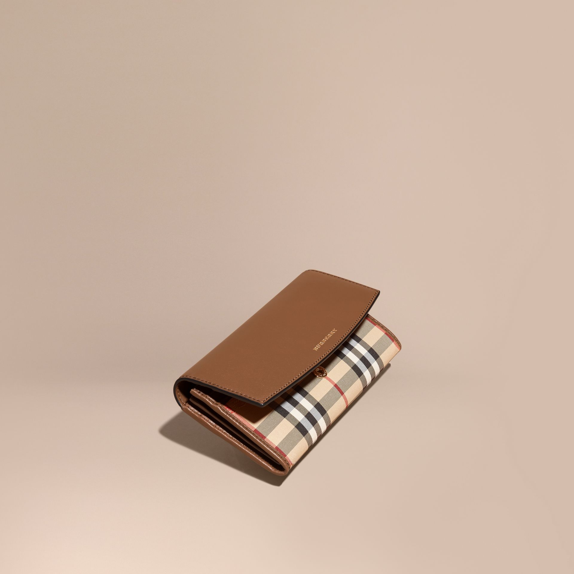 Tan Horseferry Check and Leather Continental Wallet Tan - gallery image 1