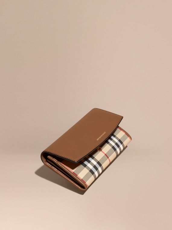 Horseferry Check and Leather Continental Wallet Tan