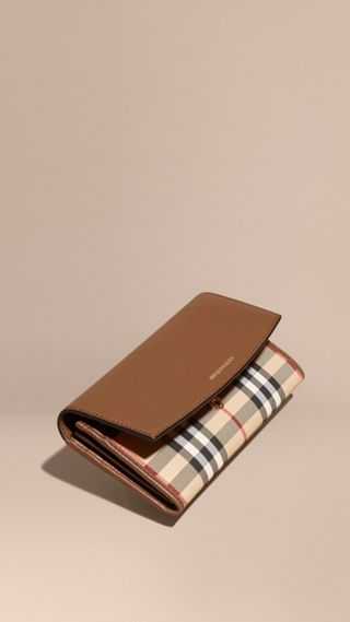 Horseferry Check and Leather Continental Wallet