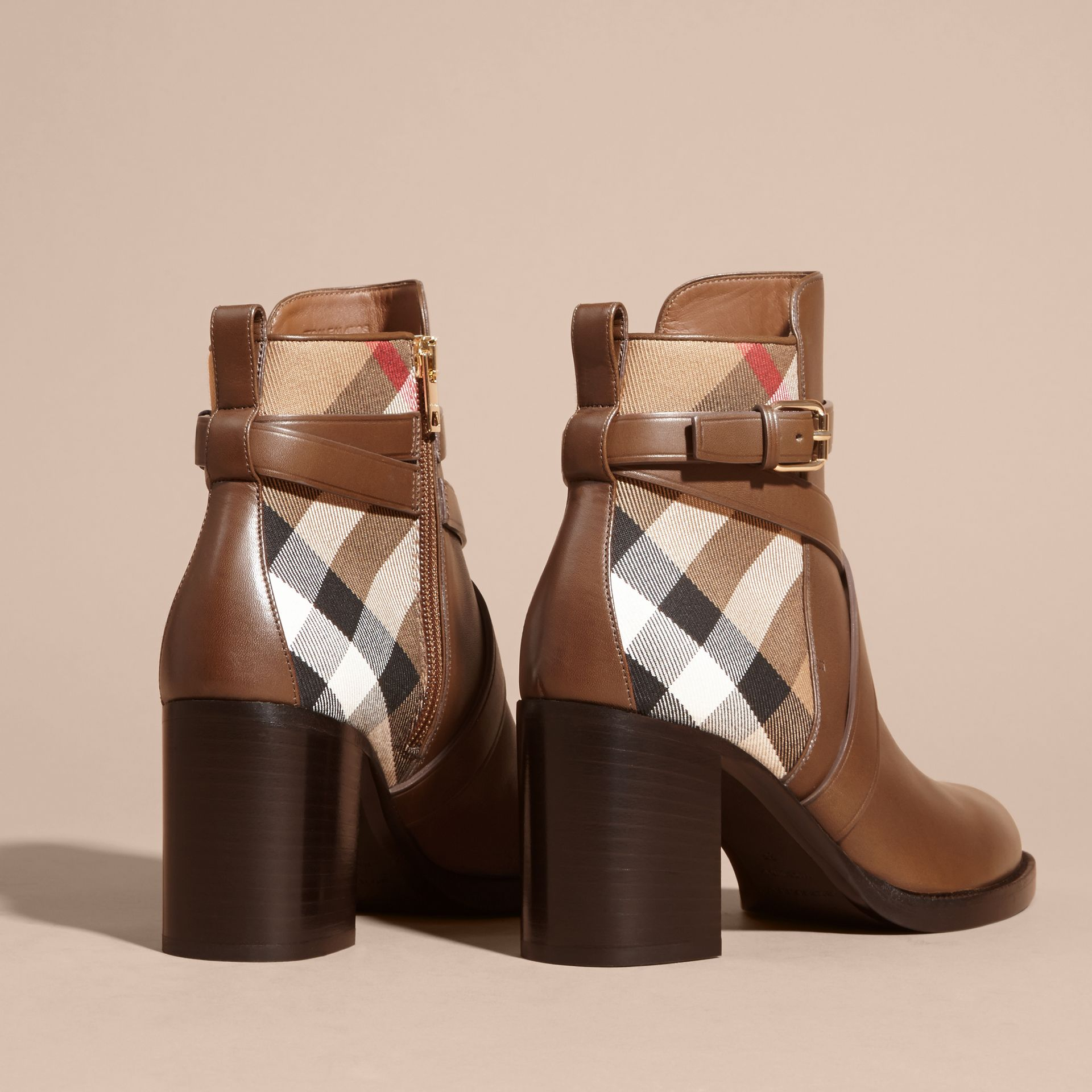 House Check and Leather Ankle Boots Bright Camel - gallery image 4