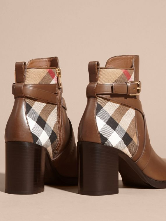 House Check and Leather Ankle Boots Bright Camel - cell image 3