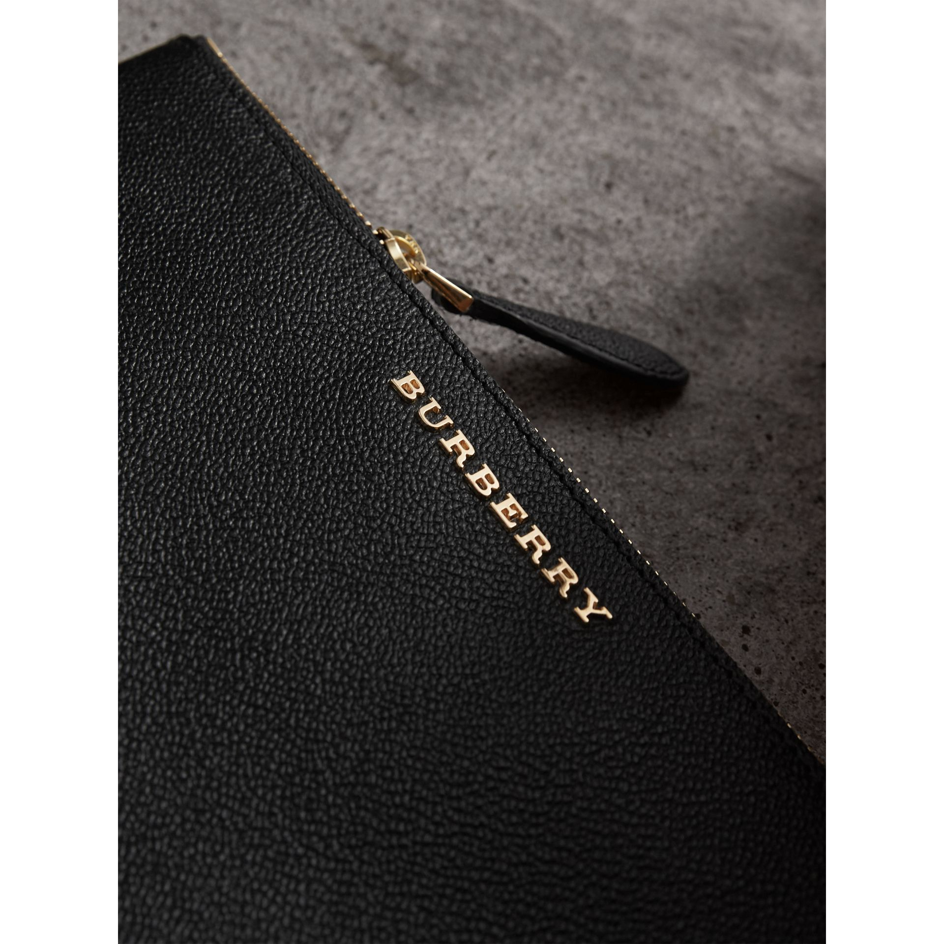 Leather Clutch Bag with Check Lining in Black - Women | Burberry - gallery image 2