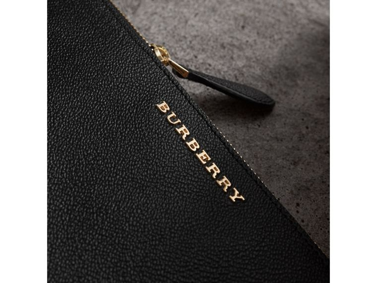 Leather Clutch Bag with Check Lining in Black - Women | Burberry United States - cell image 1