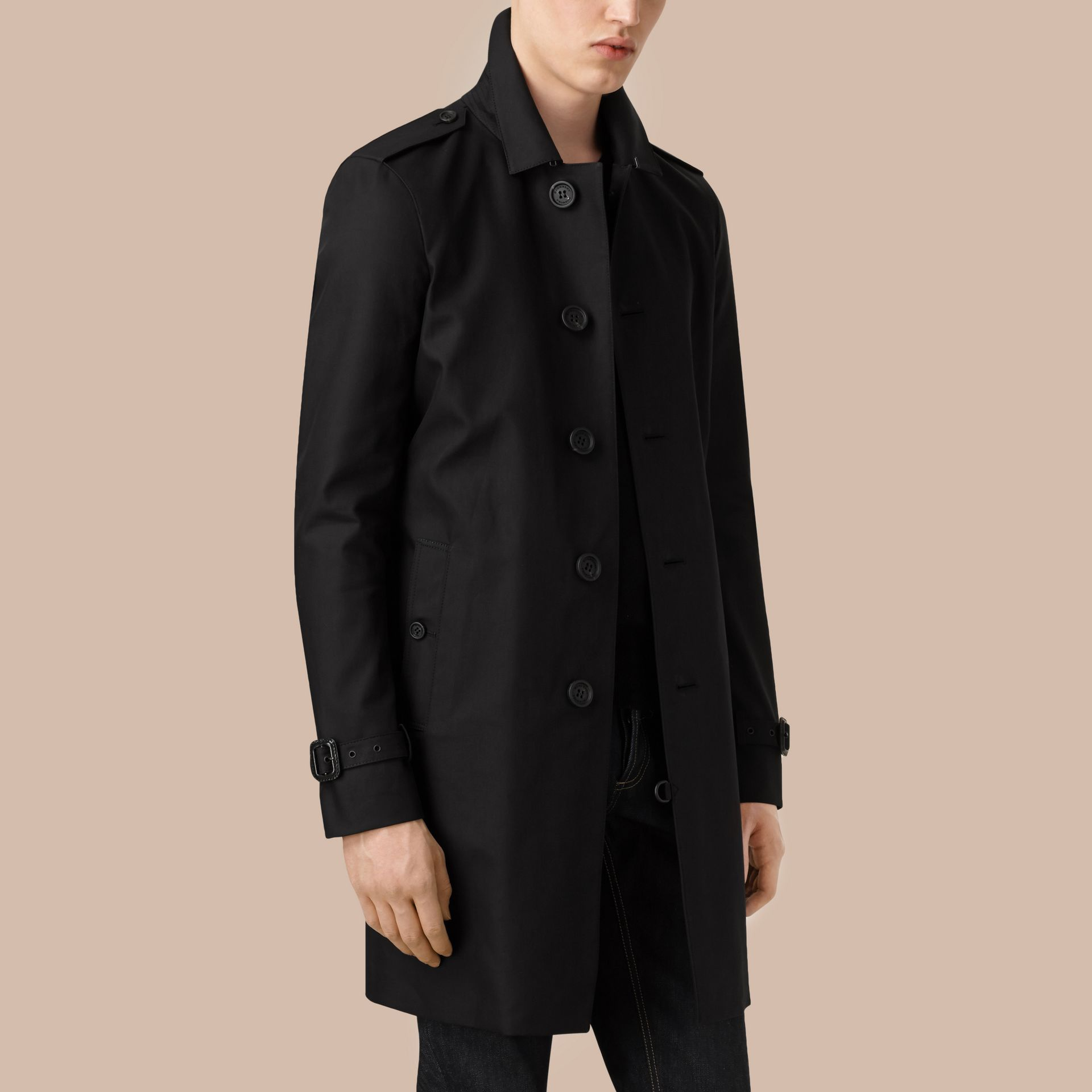 Black Cotton Gabardine Trench Coat - gallery image 4