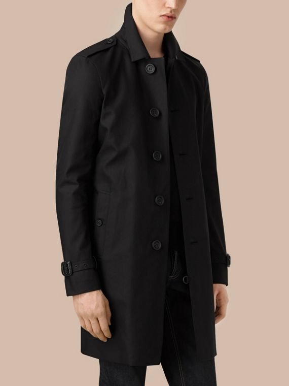 Black Cotton Gabardine Trench Coat - cell image 3