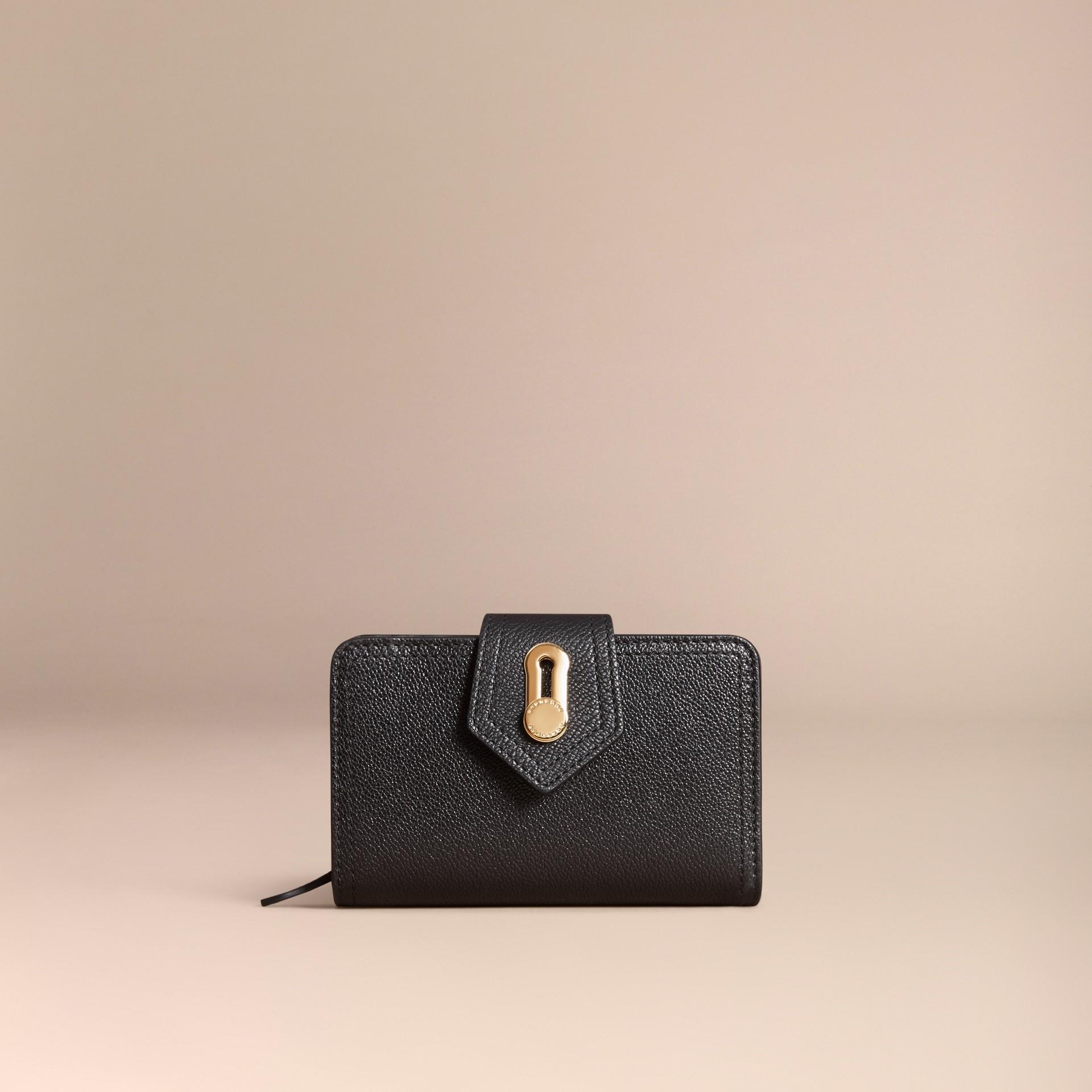 Noir Portefeuille en cuir grené Noir - photo de la galerie 6