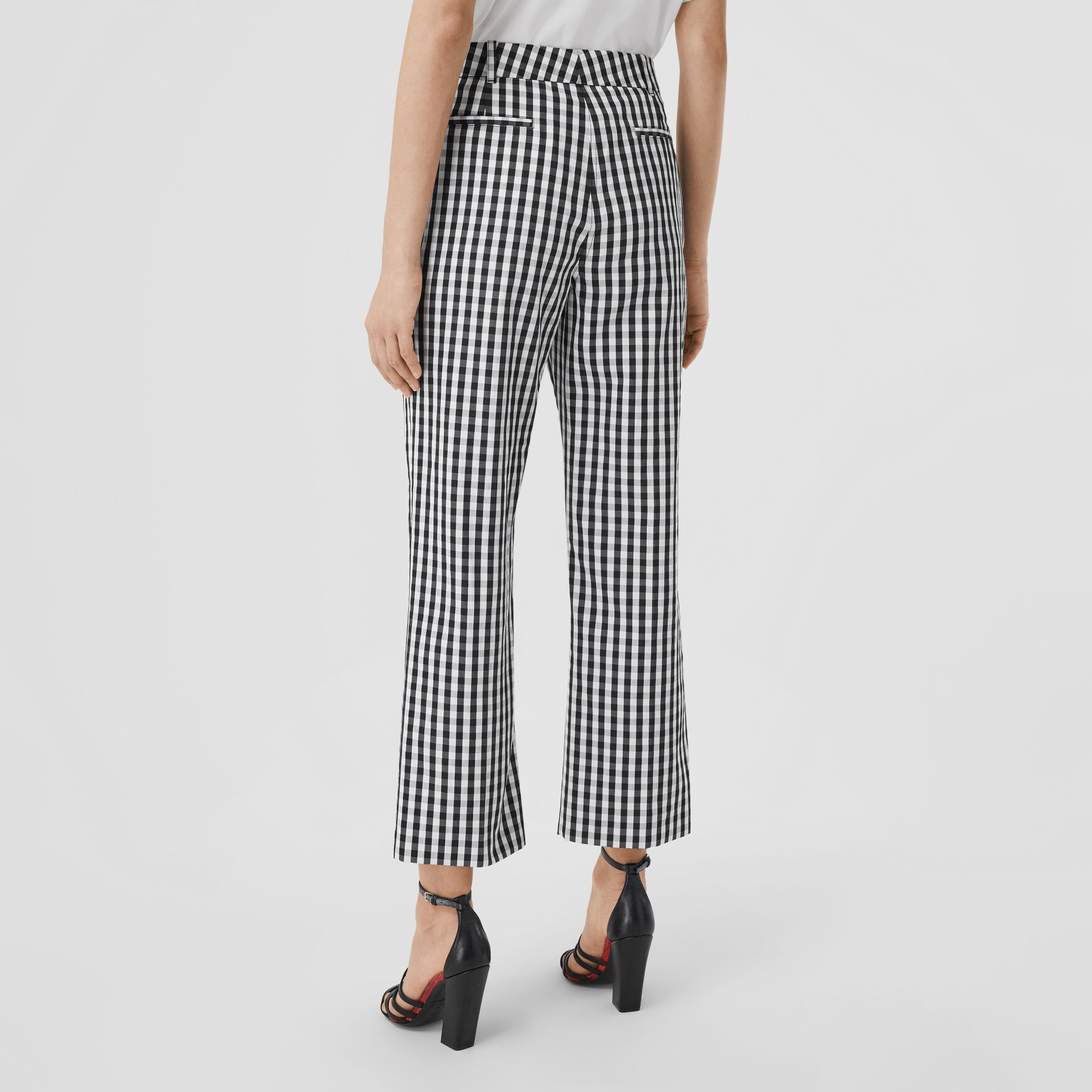 Gingham Technical Wool Cropped Trousers in Black - Women | Burberry - gallery image 2