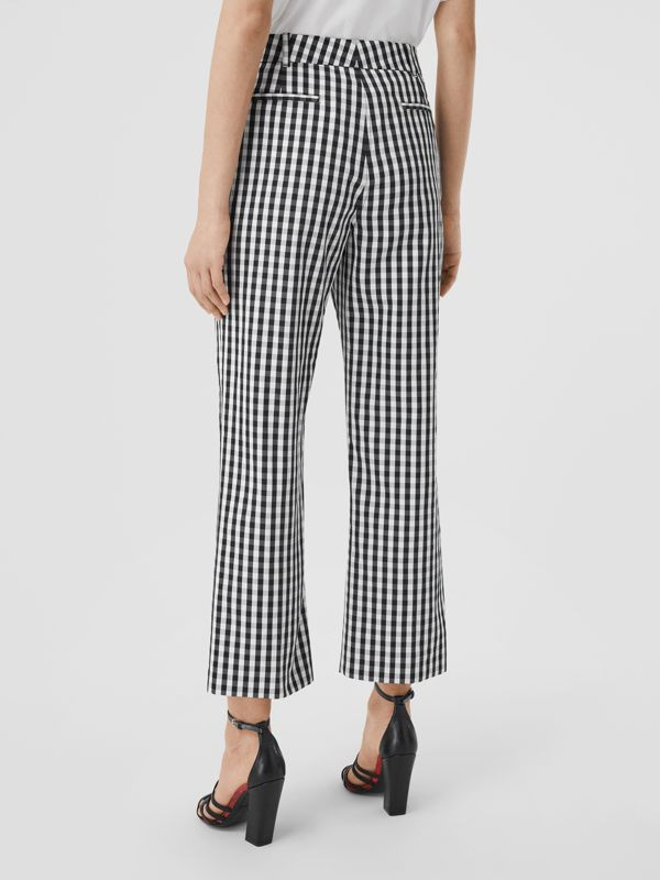 Gingham Technical Wool Cropped Trousers in Black - Women | Burberry - cell image 2