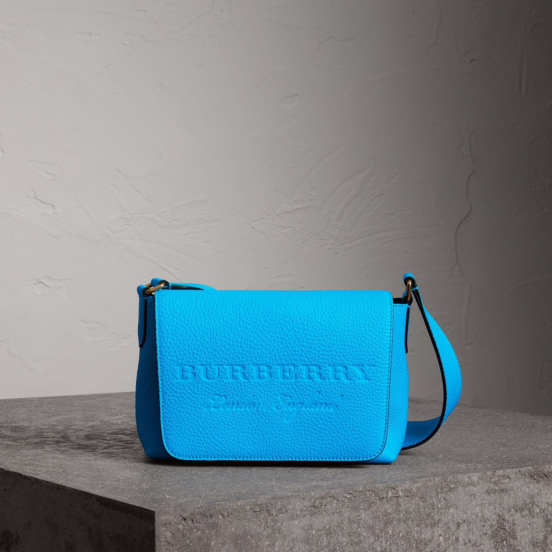Small Embossed Neon Leather Messenger Bag in Blue | Burberry - gallery image 0