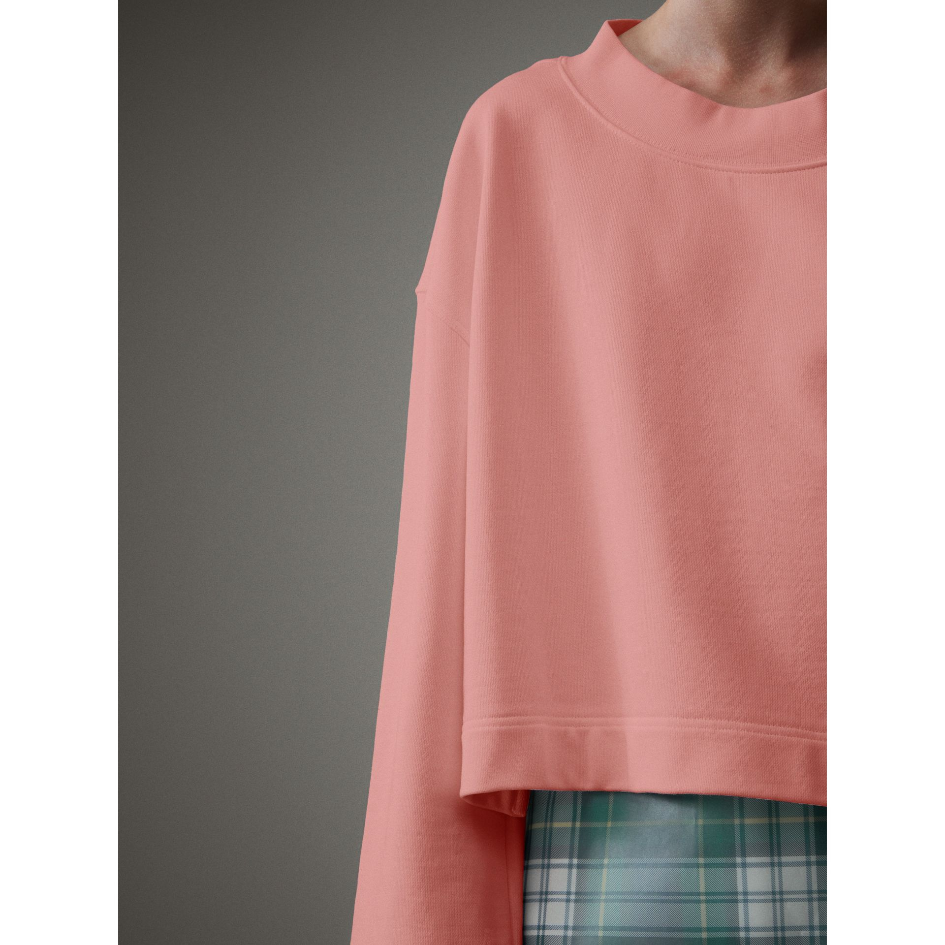 Cropped Sweatshirt with Crystal Brooch in Vintage Rose - Women | Burberry United Kingdom - gallery image 1