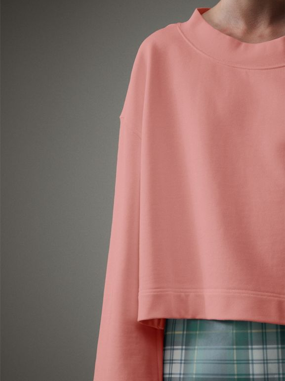 Cropped Sweatshirt with Crystal Brooch in Vintage Rose - Women | Burberry - cell image 1