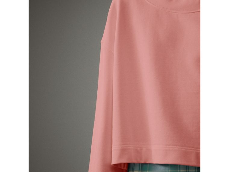 Cropped Sweatshirt with Crystal Brooch in Vintage Rose - Women | Burberry Australia - cell image 1