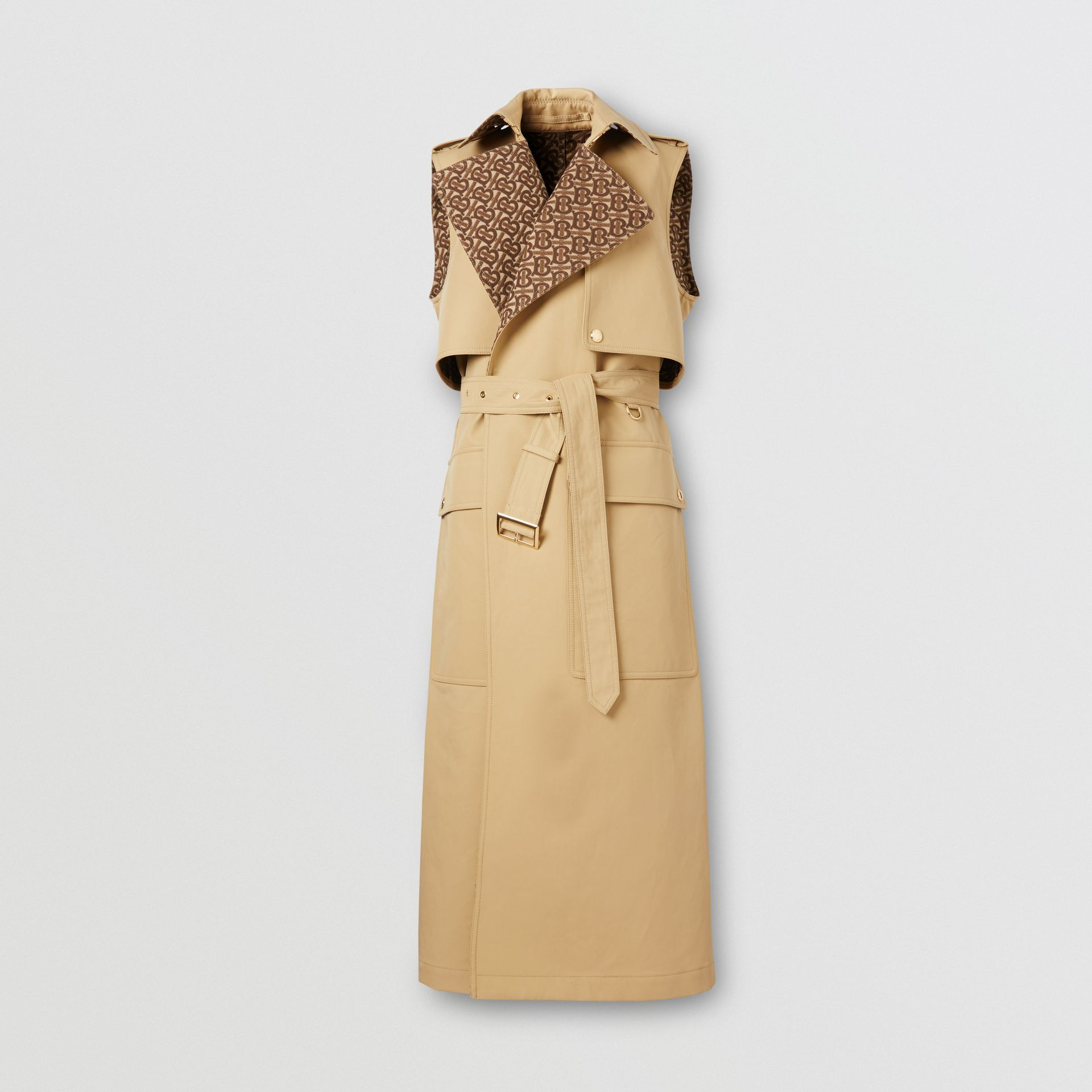 Sleeveless Monogram-lined Cotton Trench Coat in Honey - Women | Burberry - gallery image 3