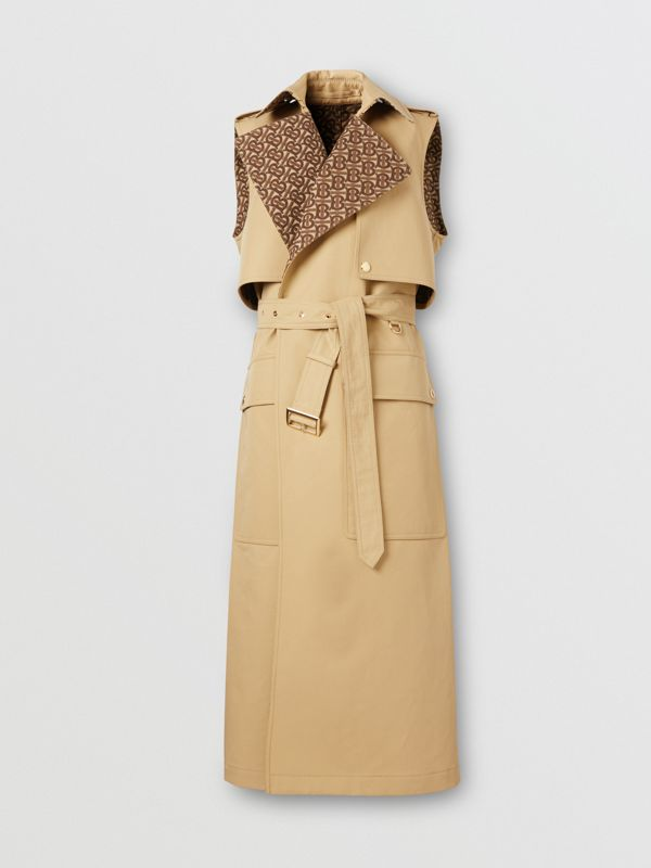Sleeveless Monogram-lined Cotton Trench Coat in Honey - Women | Burberry - cell image 3