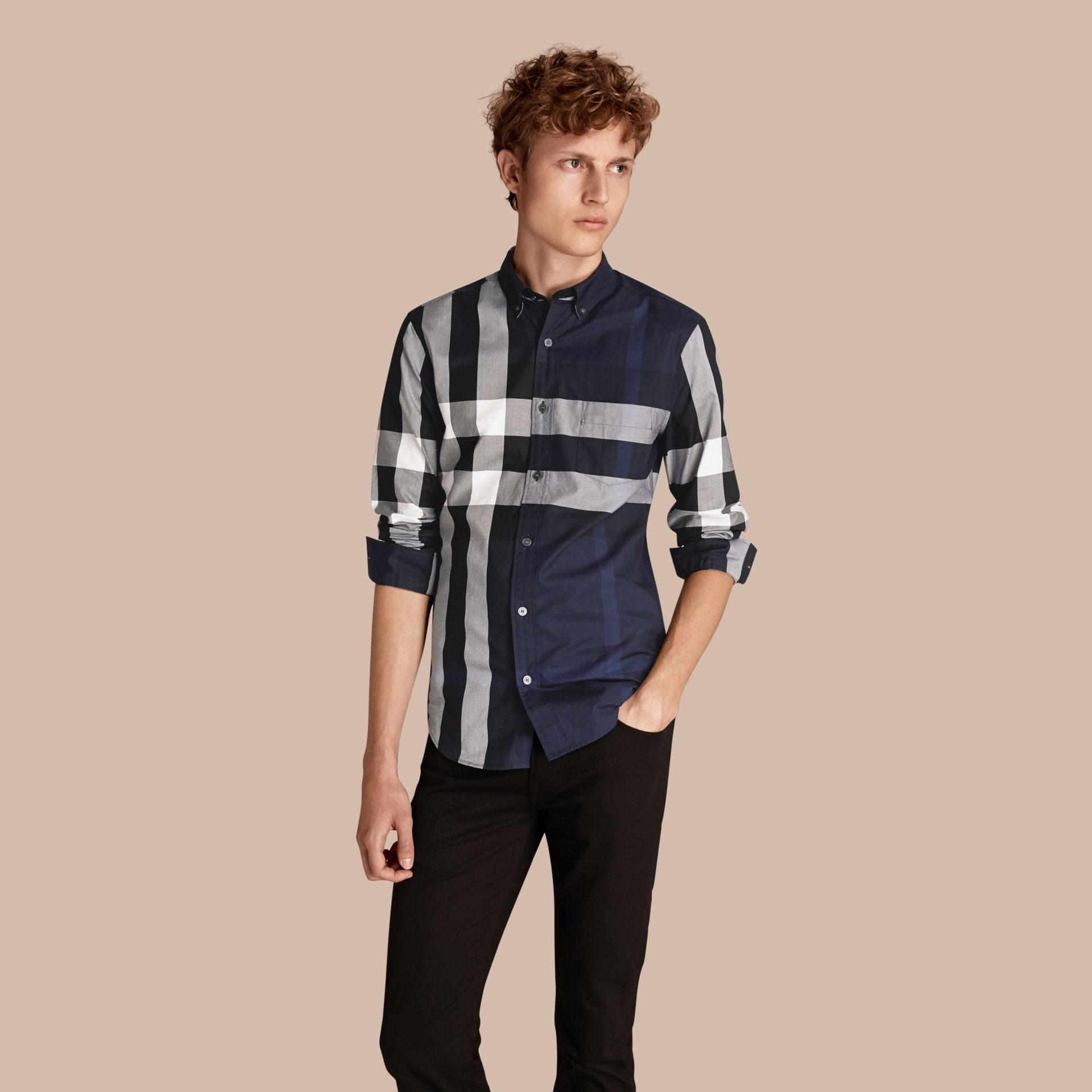 Indigo blue Check Cotton Shirt Indigo Blue - gallery image 1