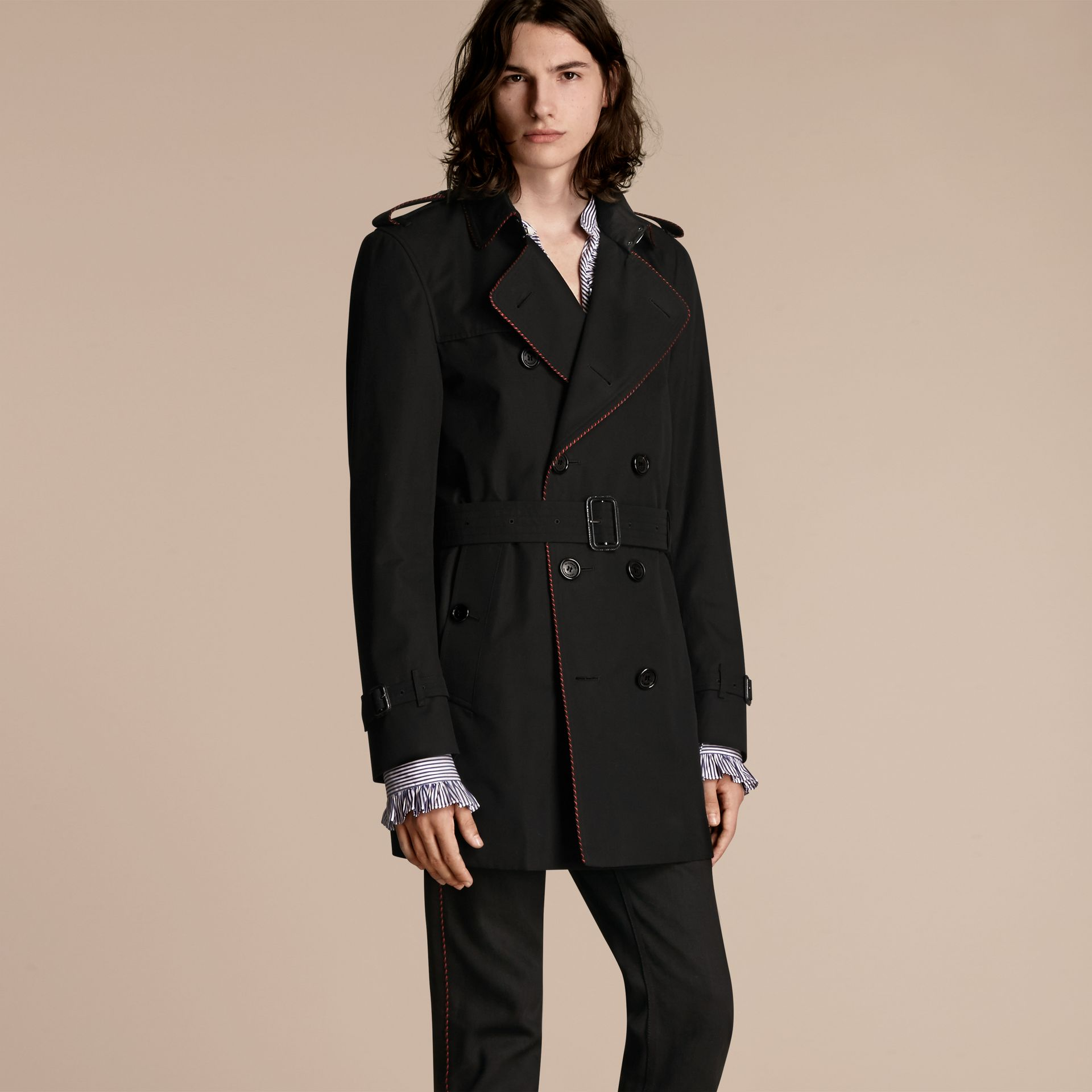 Black Trench Coat with Regimental Piping Black - gallery image 5